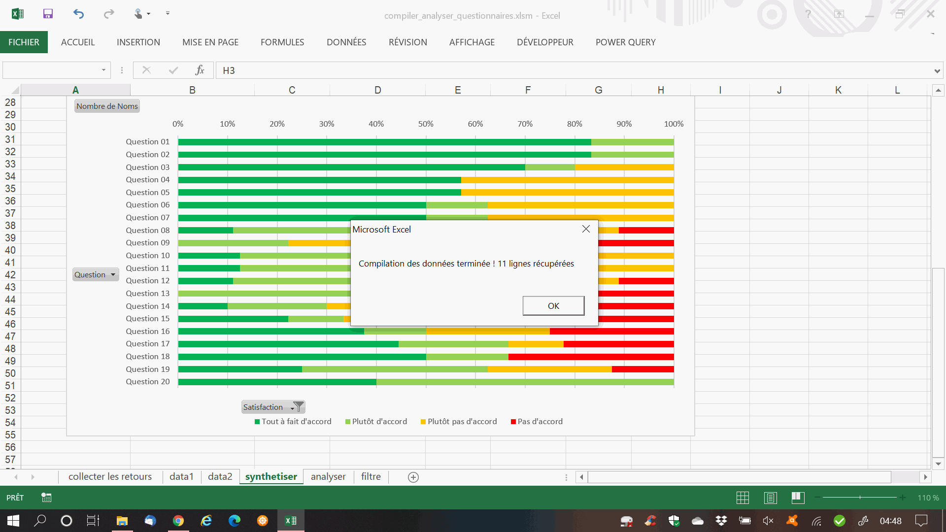 analyser questionnaire excel