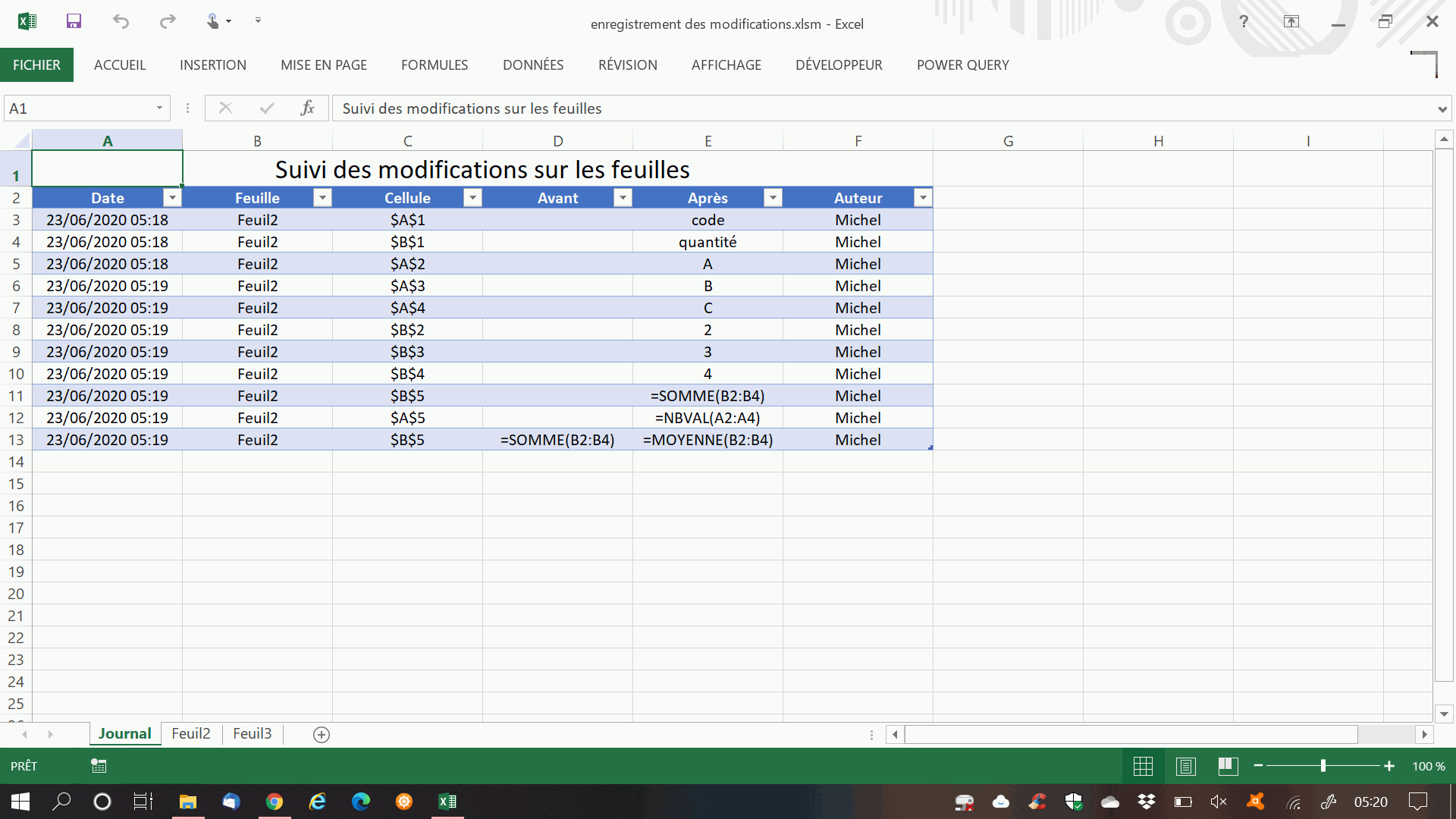 journal modifications excel