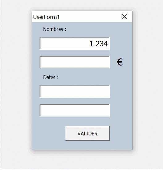 implementer sur un userform des textbox format date ou numerique excel