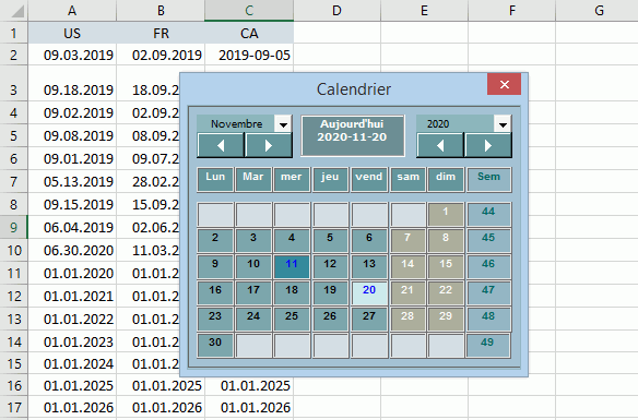 calendrier all windows compatible excel