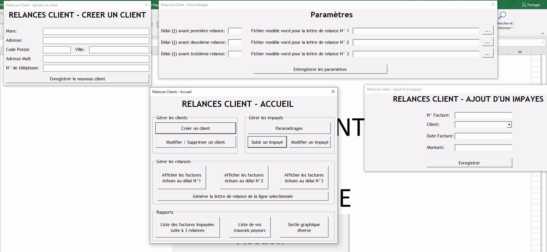 excel relance client