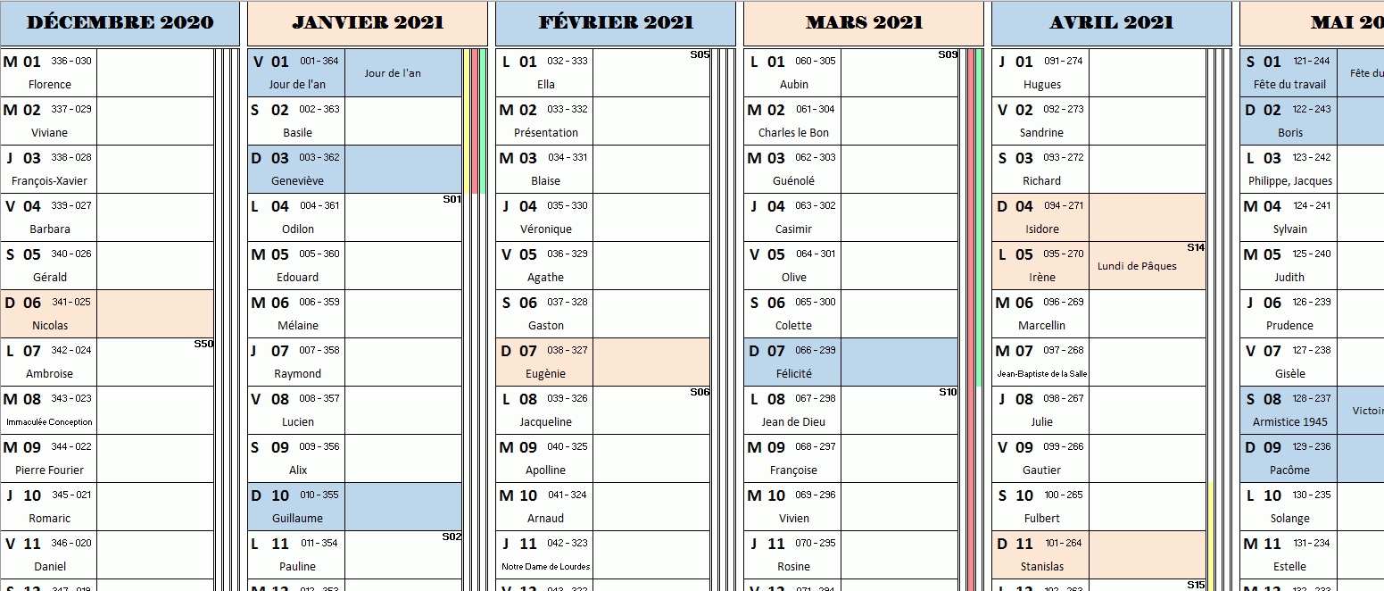 excel simple calendrier