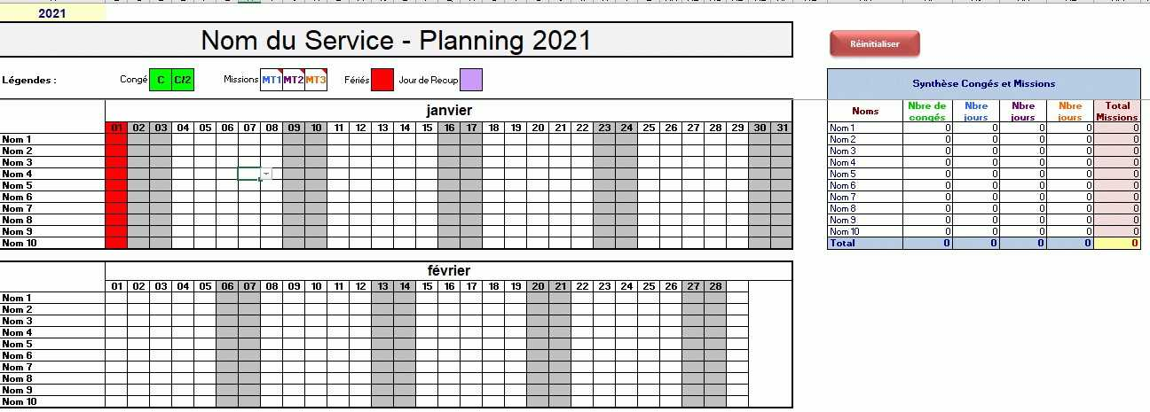 excel planning conges missions