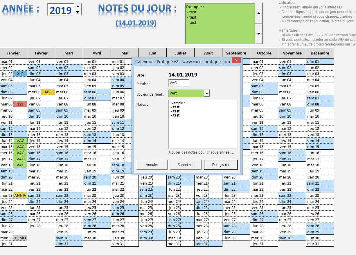 calendrier annuel notes excel