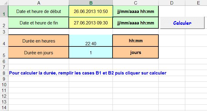 intervalle dates heures excel