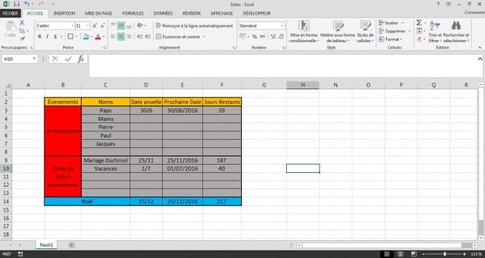 calcul du nombre de jours retants avant une date excel