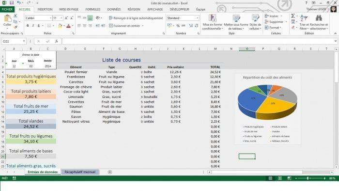 comptabilite liste de courses