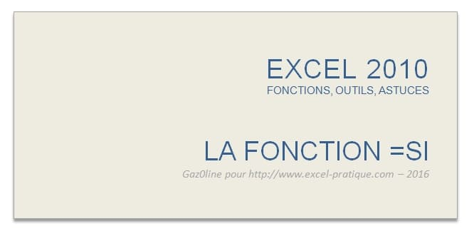 cours excel fonction si excel