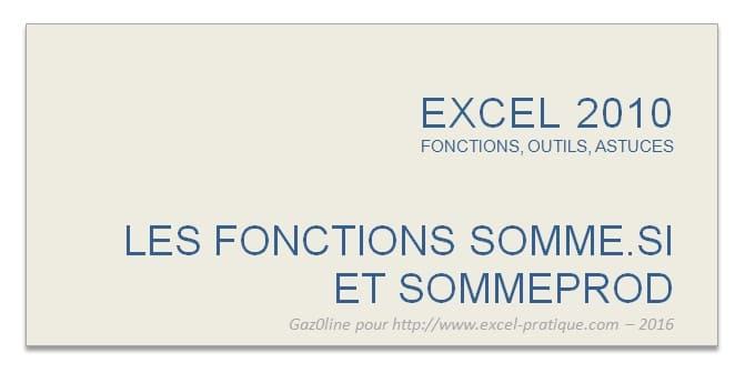 cours excel fonctions somme.si et sommeprod