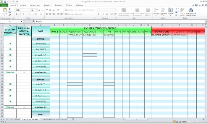 gestion budget excel