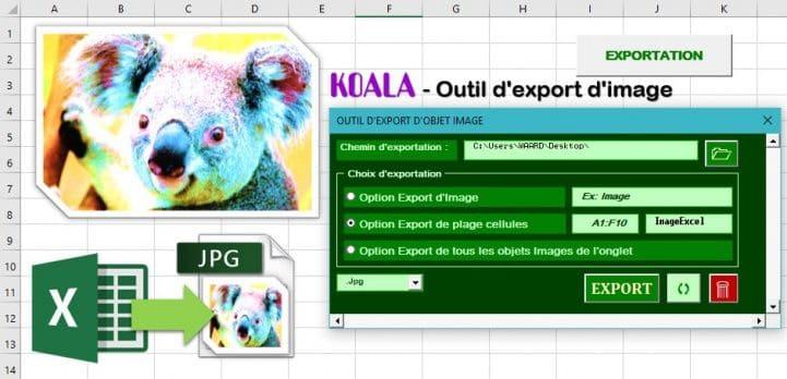 koala outil export image vers disque dur excel