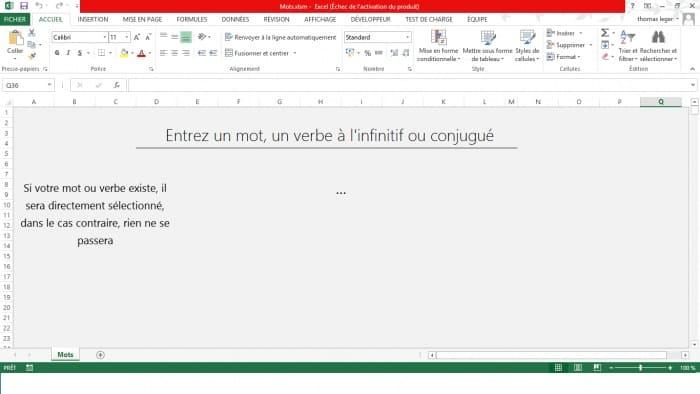 mots de la langue francaise excel