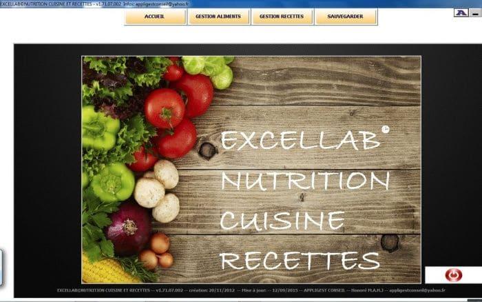 nutrition cuisine et recettes excel