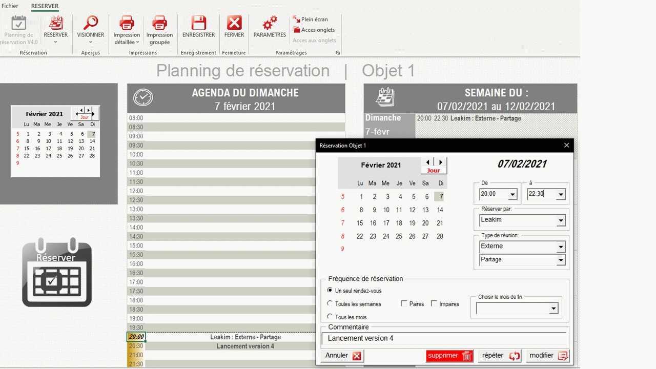 planning reservation excel