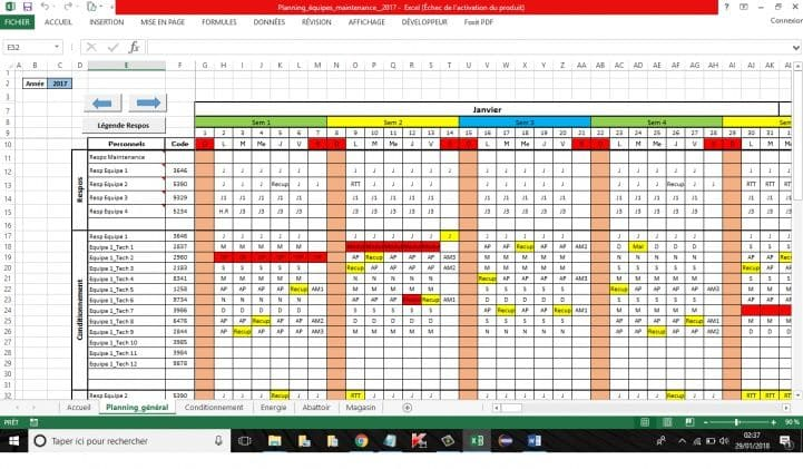 planning travail conges absences excel
