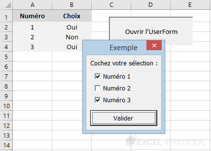 vba userform cases cochees controles
