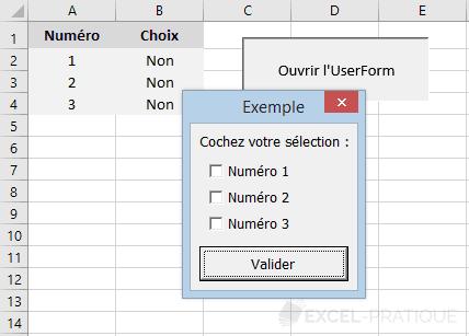 vba userform cases cocher controles