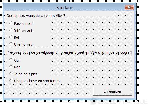 vba userform sondage boutons option controles suite